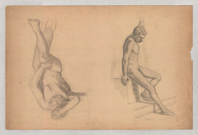 Figures studies of male nude by Theodore Clement Steele (1847-1926, United States) | Art Reproductions Theodore Clement Steele | WahooArt.com
