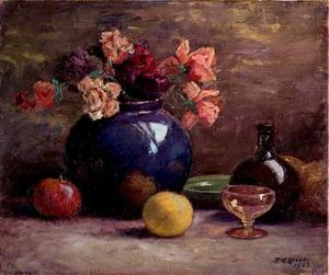 Theodore Clement Steele - Flowers in Vase, Wine Glass and Fruit