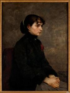 Order Art Reproductions | Girl with Red Rose by Theodore Clement Steele (1847-1926, United States) | WahooArt.com