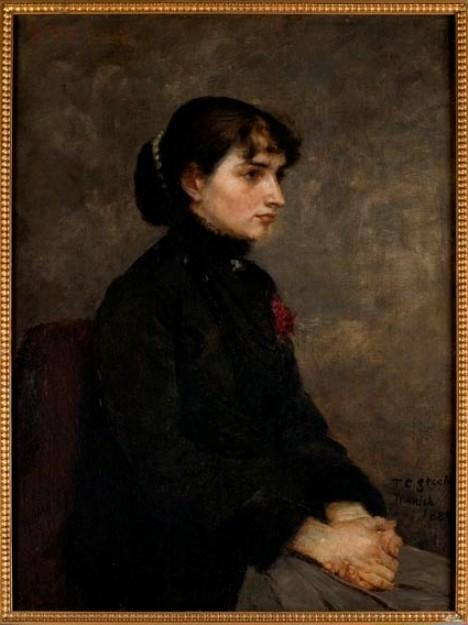 Girl with Red Rose by Theodore Clement Steele (1847-1926, United States) | Art Reproductions Theodore Clement Steele | WahooArt.com
