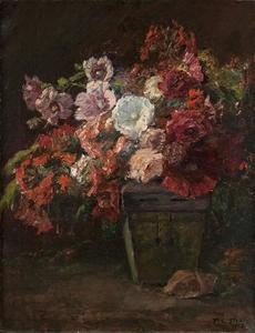 Theodore Clement Steele - Hollyhocks (Vase of Flowers