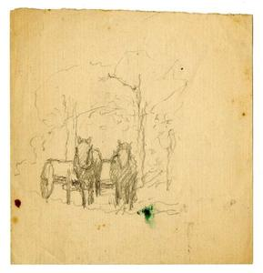 Order Paintings Reproductions | horses and wagon sketch by Theodore Clement Steele (1847-1926, United States) | WahooArt.com