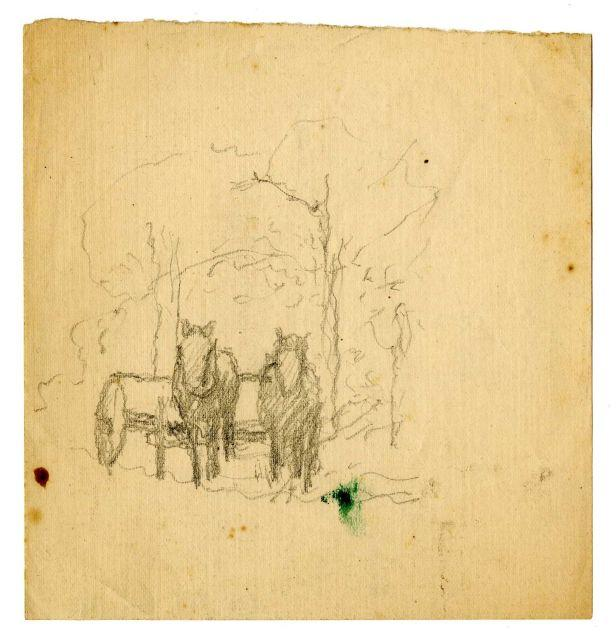 horses and wagon sketch by Theodore Clement Steele (1847-1926, United States) | Paintings Reproductions Theodore Clement Steele | WahooArt.com
