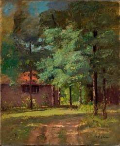 Theodore Clement Steele - House Among Tall Trees (View of the Studio)