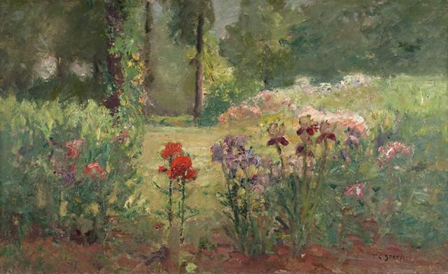 Iris and Trees (In the Flower Garden) by Theodore Clement Steele (1847-1926, United States) | Painting Copy | WahooArt.com