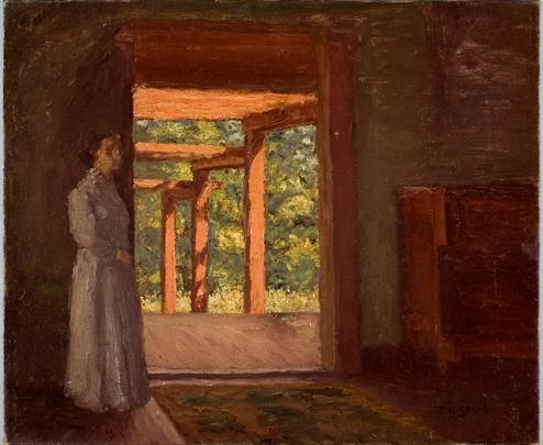 Order Art Reproductions | Lady in the Doorway by Theodore Clement Steele (1847-1926, United States) | WahooArt.com
