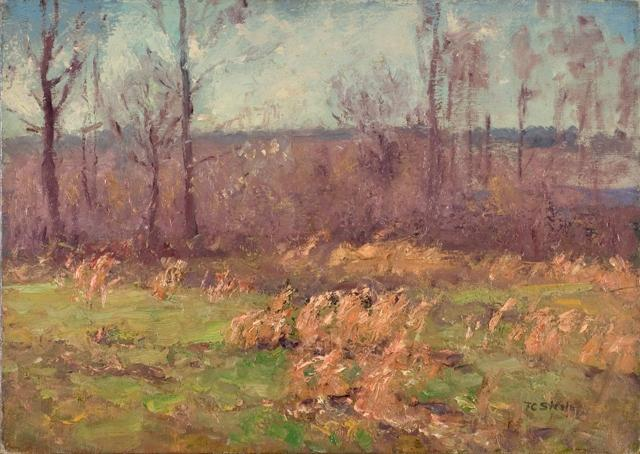 Landscape (A Gray Day in the Orchard) by Theodore Clement Steele (1847-1926, United States) | Painting Copy | WahooArt.com