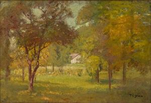 Theodore Clement Steele - Landscape and White Cottage