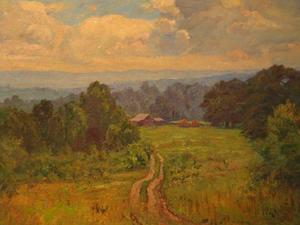 Order Reproductions | Landscape with Barn (Road to Cottage) by Theodore Clement Steele (1847-1926, United States) | WahooArt.com