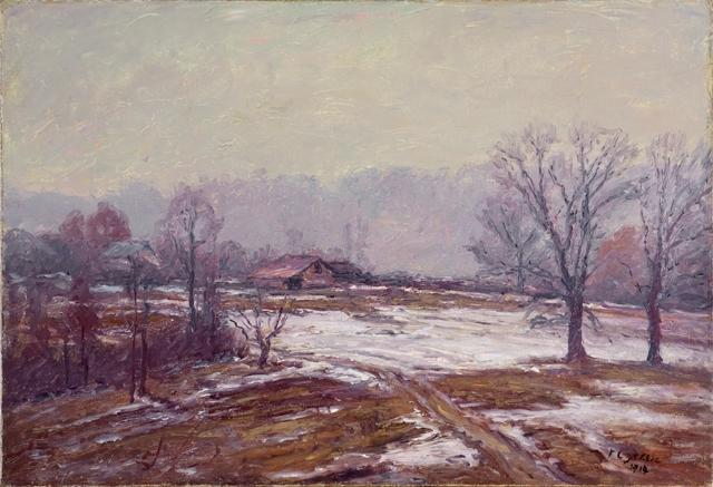 Melting Snow (A Snowy Day) by Theodore Clement Steele (1847-1926, United States) | Museum Quality Reproductions | WahooArt.com