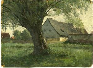 Theodore Clement Steele - Painting Study Large Tree and Farm