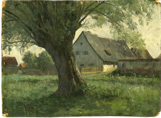 Painting Study Large Tree and Farm by Theodore Clement Steele (1847-1926, United States) | Paintings Reproductions Theodore Clement Steele | WahooArt.com