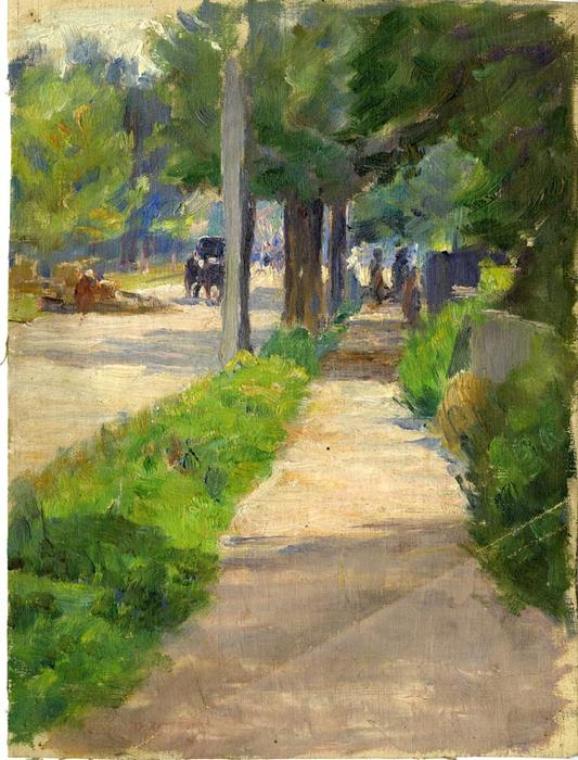 Painting Study of Streetscape by Theodore Clement Steele (1847-1926, United States) | Museum Quality Copies Theodore Clement Steele | WahooArt.com