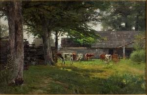 Theodore Clement Steele - Pastoral (Cows by the Barn)