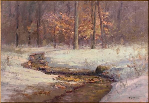 Ravine in Winter (Morning Stream in Snow) by Theodore Clement Steele (1847-1926, United States) | Art Reproductions Theodore Clement Steele | WahooArt.com