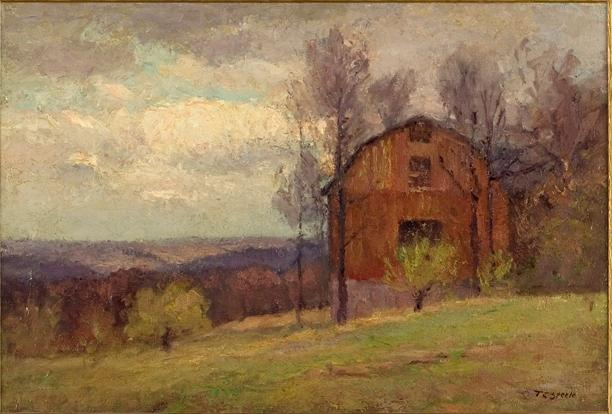 Red Barn and Trees by Theodore Clement Steele (1847-1926, United States) | Art Reproduction | WahooArt.com