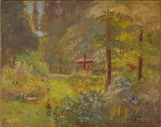 Red House with Trees and Flowes by Theodore Clement Steele (1847-1926, United States) | Museum Quality Copies Theodore Clement Steele | WahooArt.com