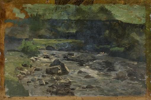 River with Rocks Study by Theodore Clement Steele (1847-1926, United States) | Famous Paintings Reproductions | WahooArt.com