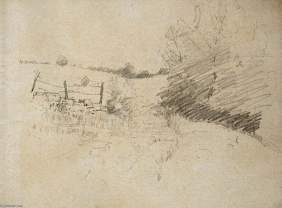 Road and Barbed Wire Fence by Theodore Clement Steele (1847-1926, United States) | Art Reproductions Theodore Clement Steele | WahooArt.com