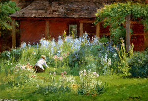 Theodore Clement Steele - Selma In The Garden (Flower Garden)