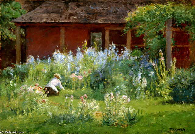 Selma In The Garden (Flower Garden) by Theodore Clement Steele (1847-1926, United States) | Famous Paintings Reproductions | WahooArt.com
