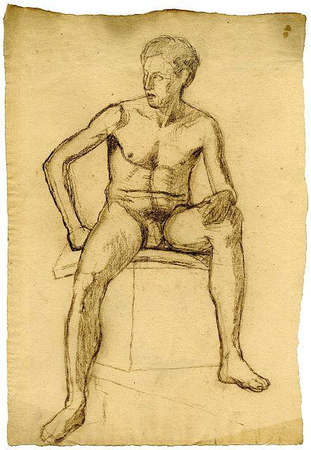 Order Paintings Reproductions | Sketch of male nude by Theodore Clement Steele (1847-1926, United States) | WahooArt.com