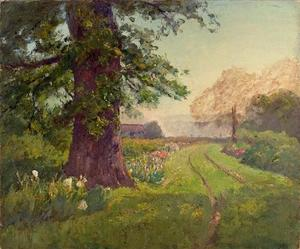 Theodore Clement Steele - Spring Scene (Oak and Flowers)
