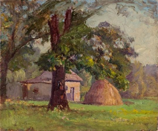 Stable and Haystack (A Haystack) by Theodore Clement Steele (1847-1926, United States) | Oil Painting | WahooArt.com