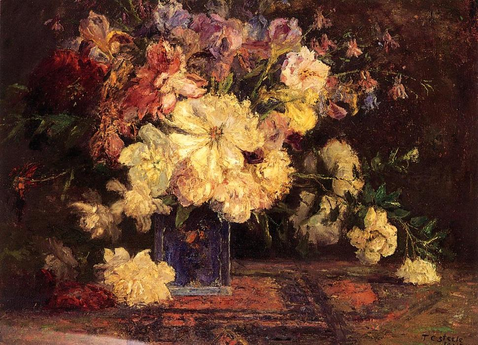 Order Art Reproductions | Still Life with Peonies, 1915 by Theodore Clement Steele (1847-1926, United States) | WahooArt.com