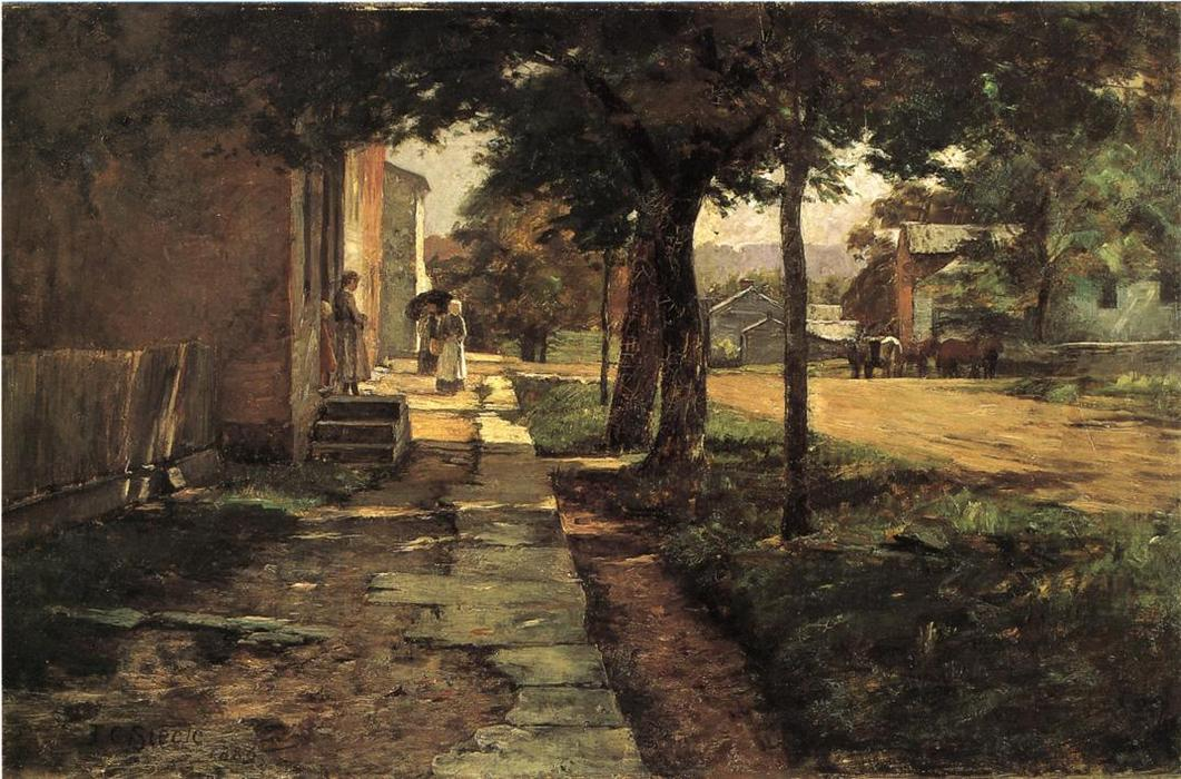 Street in Vernon, 1886 by Theodore Clement Steele (1847-1926, United States) | Famous Paintings Reproductions | WahooArt.com