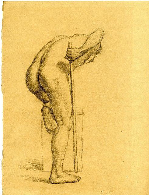 Study of a male nude by Theodore Clement Steele (1847-1926, United States) | Art Reproductions Theodore Clement Steele | WahooArt.com