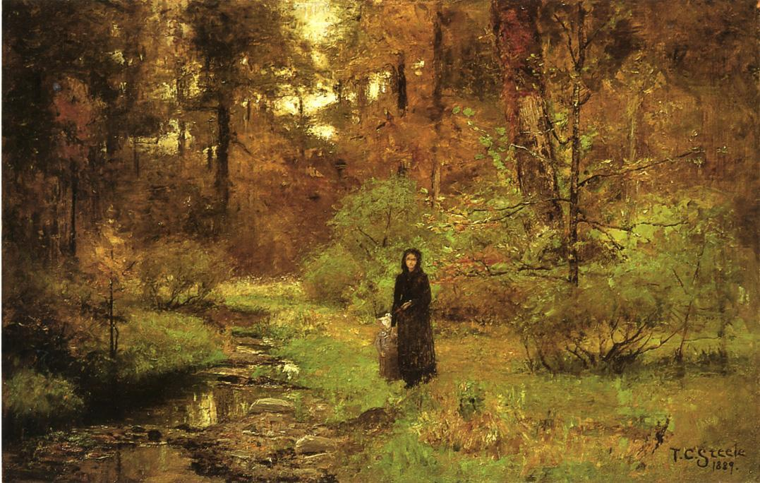 The Brook in the Woods by Theodore Clement Steele (1847-1926, United States) | Art Reproductions Theodore Clement Steele | WahooArt.com