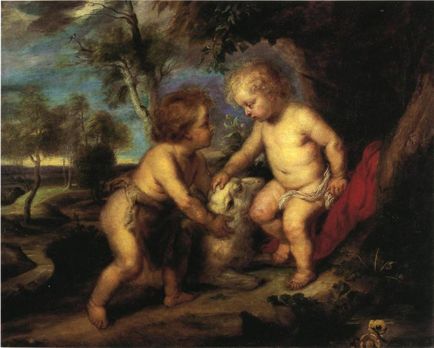 Order Paintings Reproductions | The Christ Child and the Infant St. John after Rubens, 1883 by Theodore Clement Steele (1847-1926, United States) | WahooArt.com