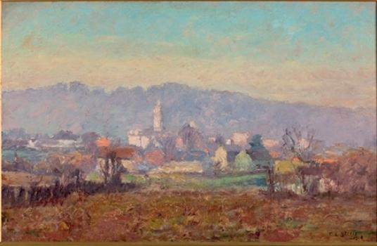 The Tower in the Village by Theodore Clement Steele (1847-1926, United States) | Museum Quality Reproductions | WahooArt.com