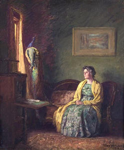 Order Paintings Reproductions | The Yellow Shawl by Theodore Clement Steele (1847-1926, United States) | WahooArt.com