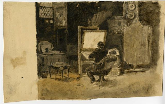 Tonal Sketch of Artist in Studio by Theodore Clement Steele (1847-1926, United States) | Oil Painting | WahooArt.com