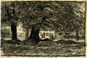 Theodore Clement Steele - Trees and a house