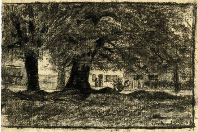Trees and a house by Theodore Clement Steele (1847-1926, United States) | Paintings Reproductions Theodore Clement Steele | WahooArt.com