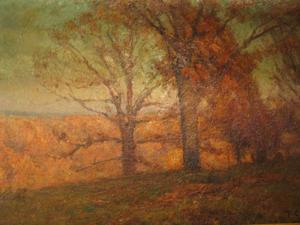Theodore Clement Steele - Trees in the Hills (Autumn Landscape)