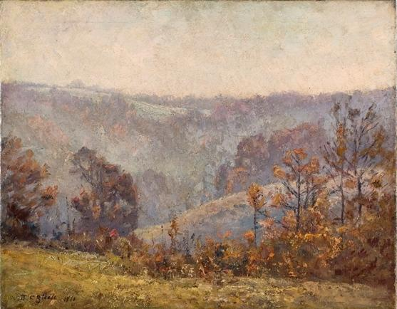 Valley Scene (Late November) by Theodore Clement Steele (1847-1926, United States) | Paintings Reproductions Theodore Clement Steele | WahooArt.com