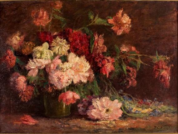 Vase of Flowers by Theodore Clement Steele (1847-1926, United States) | Reproductions Theodore Clement Steele | WahooArt.com