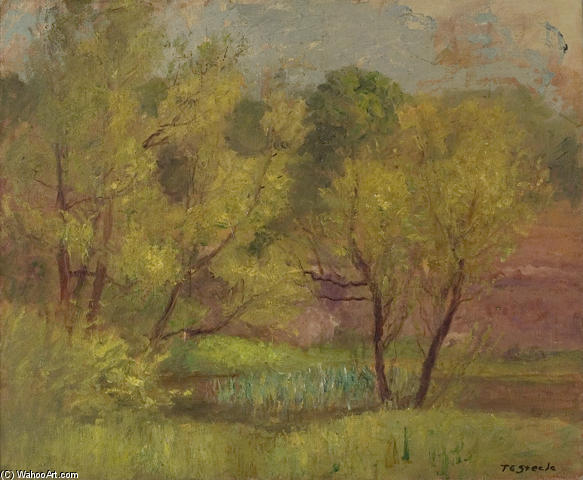 Willows in Spring by Theodore Clement Steele (1847-1926, United States) | Paintings Reproductions Theodore Clement Steele | WahooArt.com