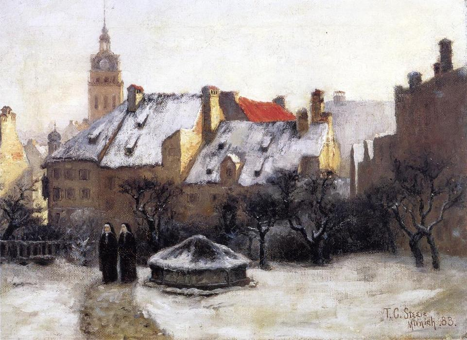 Winter Afternoon - Old Munich, 1883 by Theodore Clement Steele (1847-1926, United States) | Oil Painting | WahooArt.com