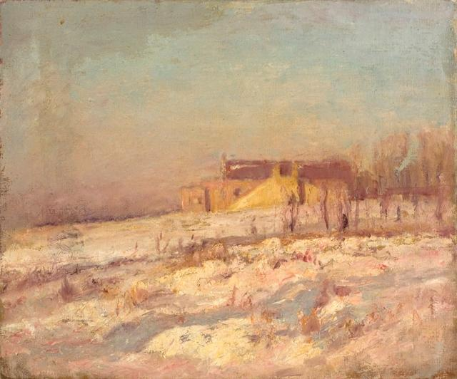 Order Museum Quality Reproductions : Winter Scene (Barn in the Background) by Theodore Clement Steele (1847-1926, United States) | WahooArt.com