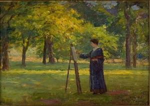 Order Art Reproductions | Woman Painting in a Grove by Theodore Clement Steele (1847-1926, United States) | WahooArt.com