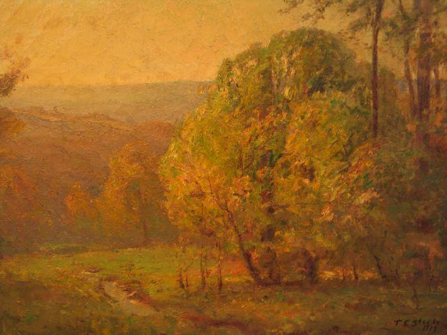 Wooded Hills in the Spring by Theodore Clement Steele (1847-1926, United States) | Paintings Reproductions Theodore Clement Steele | WahooArt.com