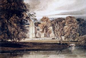 Thomas Girtin - The East End of Bolton Abbey, from across the River Wharfe