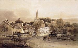 Thomas Girtin - Village Street and Church Spire