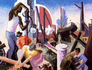 Thomas Hart Benton - City Building (Study for America Today) - (Famous paintings)