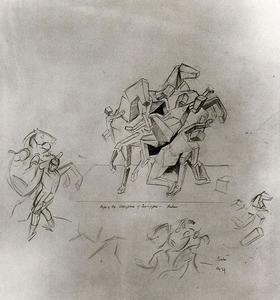 Thomas Hart Benton - Compositional Study of Rubens's ''Rape of the Daughters of Leucippus''